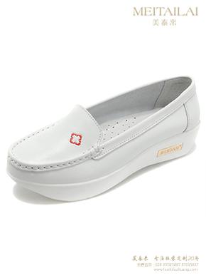 白色刺绣护士鞋