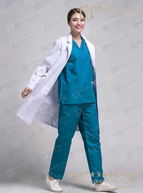 蓝色手术服 短袖