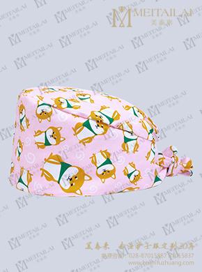 粉色印花医生帽